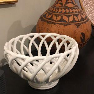 Ceramic Woven Bread Basket Bowl Warm & Serve